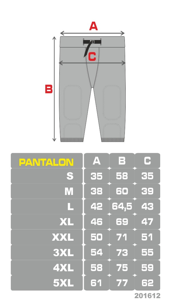 Grille de tailles football americain pantalon