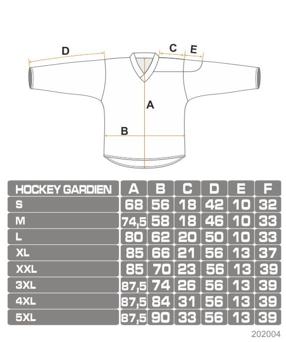 Grille de tailles hockey sur glace maillot gardien